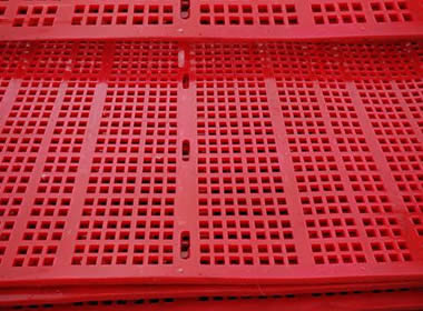Several pieces of red polyurethane screen meshes with holes in the center of screen.