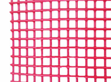A piece of red steel core polyurethane screen on the white background.
