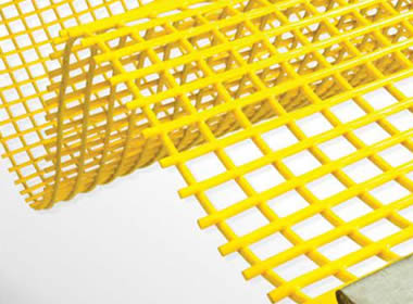 A piece of yellow steel core polyurethane screen on the white background.