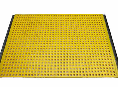 A piece of yellow rectangular tensioned polyurethane screen on the white background.