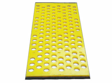 A piece of yellow round tensioned polyurethane screen on the white background.