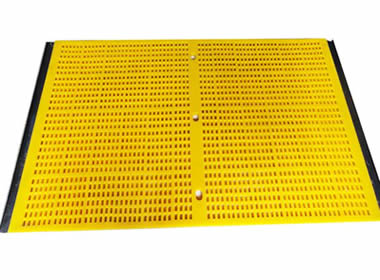 A piece of yellow tensioned polyurethane screen with two hooks on the transverse direction.