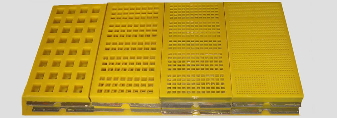 Eight pieces of modular polyurethane screen mesh with different hole sizes.