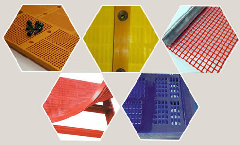 Five different connection types of polyurethane screen mesh.