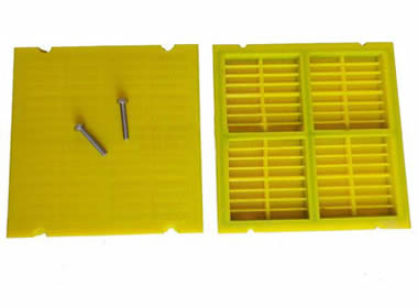Two pieces yellow polyurethane dewatering screens with two bolts on them.