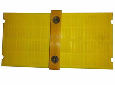 Two pieces of polyurethane dewatering screens with one trim strip on it.