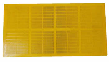 A piece of yellow polyurethane dewatering screen on the white background.