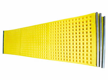 Three pieces of yellow tensioned polyurethane screens with hooks on the longitudinal direction.