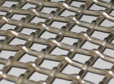 A piece of lock woven vibrating screen mesh on the gray background.
